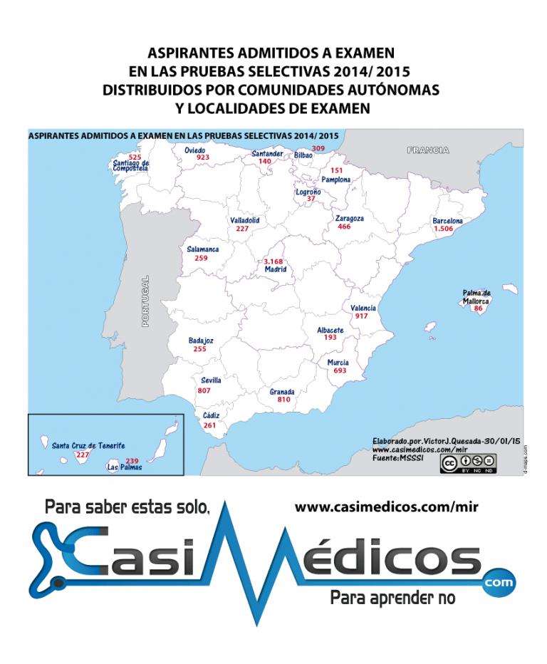 ASPIRANTES ADMITIDOS A EXAMEN MIR EN LAS PRUEBAS SELECTIVAS 2014/ 2015  DISTRIBUIDOS POR COMUNIDADES AUTÓNOMAS Y LOCALIDADES DE EXAMEN