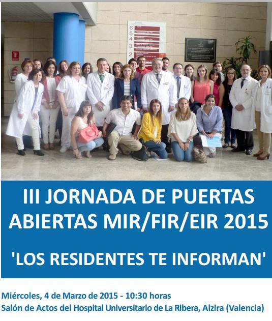 III JORNADA DE PUERTAS ABIERTAS MIR 2015, Hospital Universitario de La Ribera
