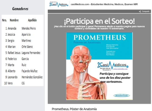 Ganadores de los 10 ejemplares de Prometheus. Póster de Anatomía.