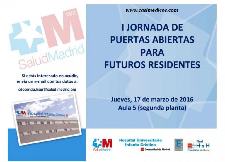 I JORNADA DE PUERTAS ABIERTAS PARA FUTUROS RESIDENTES Hospital Universitario Infanta Cristina 2016