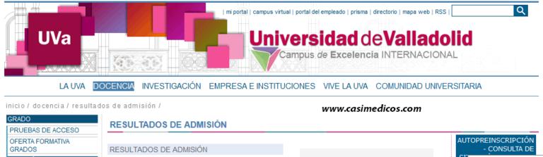 Universidad de Valladolid.Resultados de Admisión 2016-2017.
