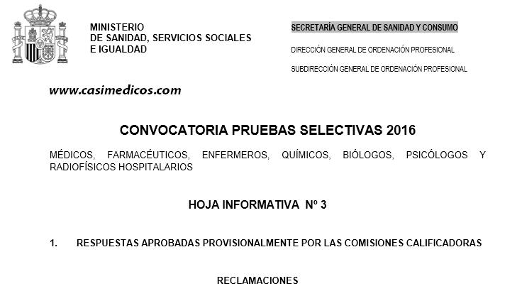 Abierto el plazo de Reclamaciones e Impugnaciones al EXAMEN MIR 2016-2017