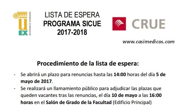 Facultad de Medicina Extremadura: LISTA DE ESPERA PROGRAMA SICUE 2017-2018