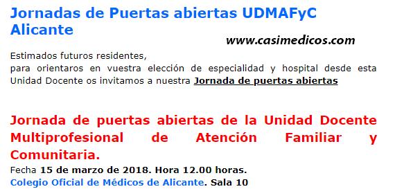 Jornada de puertas abiertas Unidad Docente Multiprofesional de Atención familiar y comunitaria en Alicante @ Colegio de Médicos de Alicante | Alacant | Comunidad Valenciana | Spain