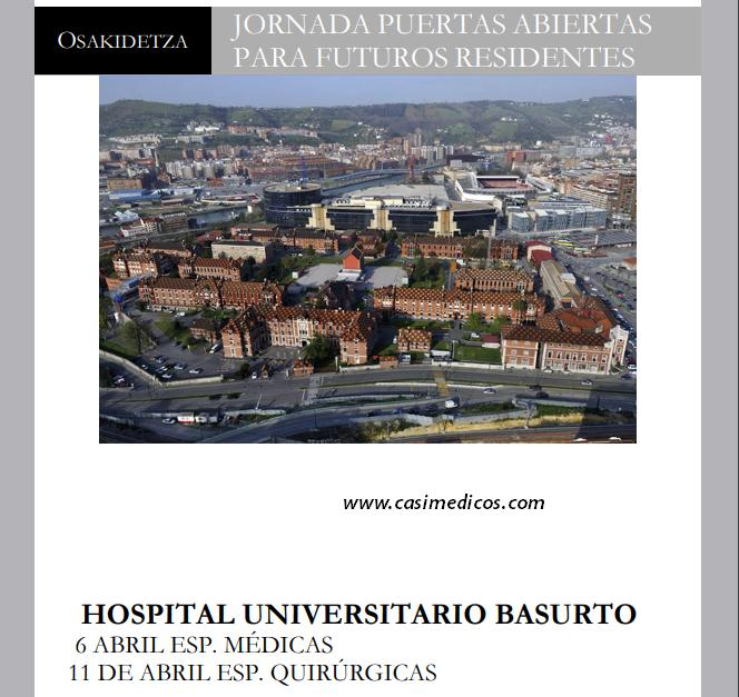 JORNADA PUERTAS ABIERTAS PARA FUTUROS RESIDENTES HOSPITAL UNIVERSITARIO BASURTO @ HOSPITAL UNIVERSITARIO BASURTO | Bilbo | Euskadi | Spain