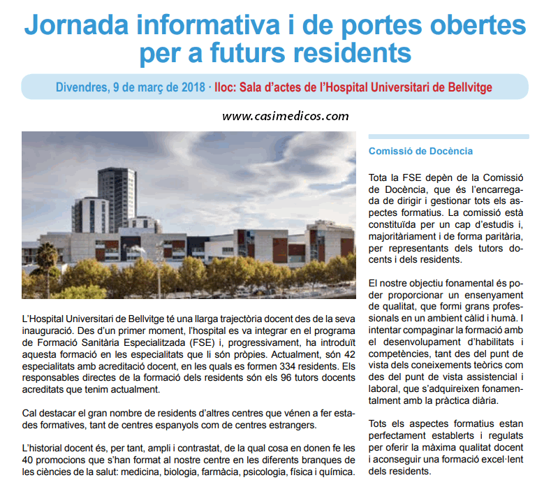 Jornada informativa y de puertas abiertas para futuros residentes Hospital Universitari de Bellvitge @ Hospital Universitari de Bellvitge | L'Hospitalet de Llobregat | Catalunya | Spain