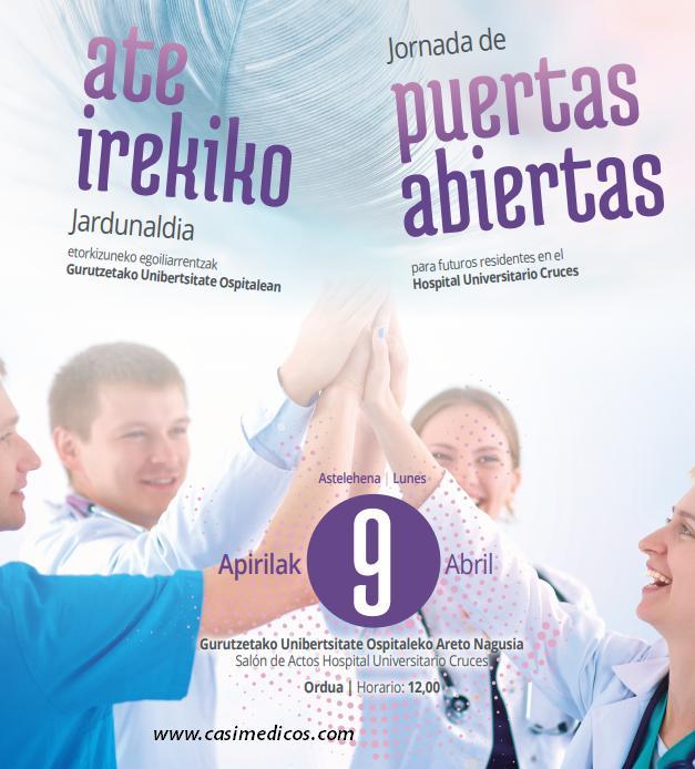 JORNADA DE PUERTAS ABIERTAS PARA FUTUROS RESIDENTES MIR/FIR/EIR HOSPITAL UNIVERSITARIO CRUCES @ Hospital de Cruces | Barakaldo | Euskadi | Spain