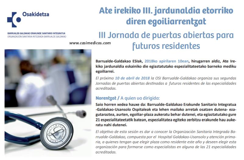 Jornada de puertas abiertas para futuros residentes en la OSI Barrualde-Galdakao @ Hospital Galdakao-Usansolo | Galdakao | Euskadi | Spain
