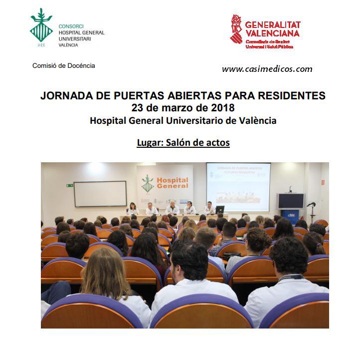 JORNADA DE PUERTAS ABIERTAS PARA RESIDENTES Hospital General Universitario de Valencia @ Hospital General Universitario de Valencia | València | Comunidad Valenciana | Spain
