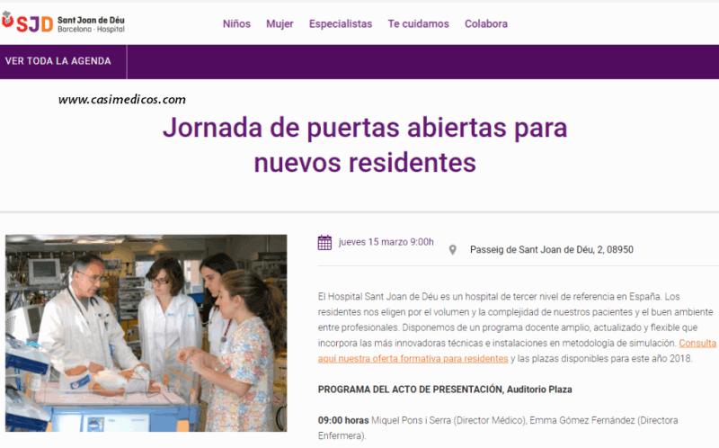 Hospital Sant Joan de Déu Barcelona. Jornada de puertas abiertas para nuevos residentes 2018 @ Hospital Sant Joan de Déu Barcelona | Esplugues de Llobregat | Catalunya | Spain