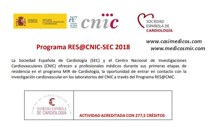 Convocadas las ayudas del Programa Res@CNIC- SEC 2018 para estancias formativas en el CNIC para MIR en Cardiología.