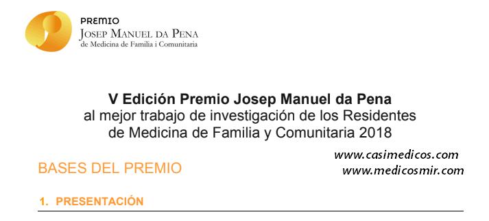 V Edición Premio Josep Manuel da Pena al mejor trabajo de investigación de los Residentes de Medicina de Familia y Comunitaria 2018