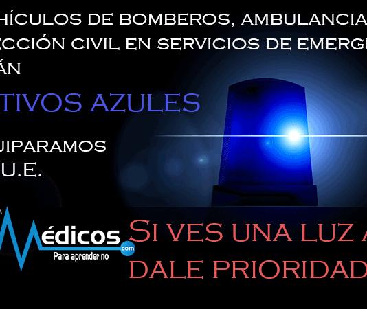Luces azules para vehículos de emergencia