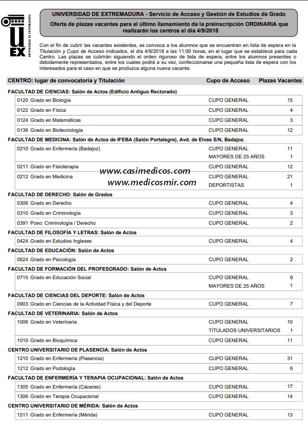 Oferta de plazas vacantes para el último llamamiento de la preinscripción ORDINARIA que realizarán los centros el día 4/9/2018