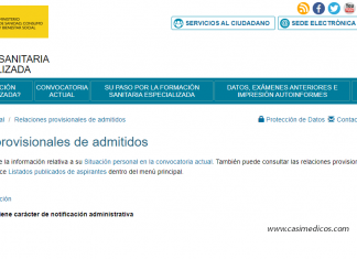 Relaciones provisionales de admitidos y no admitidos - Pruebas selectivas Formación Sanitaria Especializada 2019.