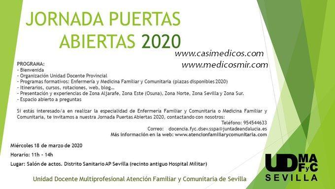 Jornada Puertas Abiertas 2020 Unidad Docente Multiprofesional Provincial de Atención Familiar y Comunitaria de Sevilla