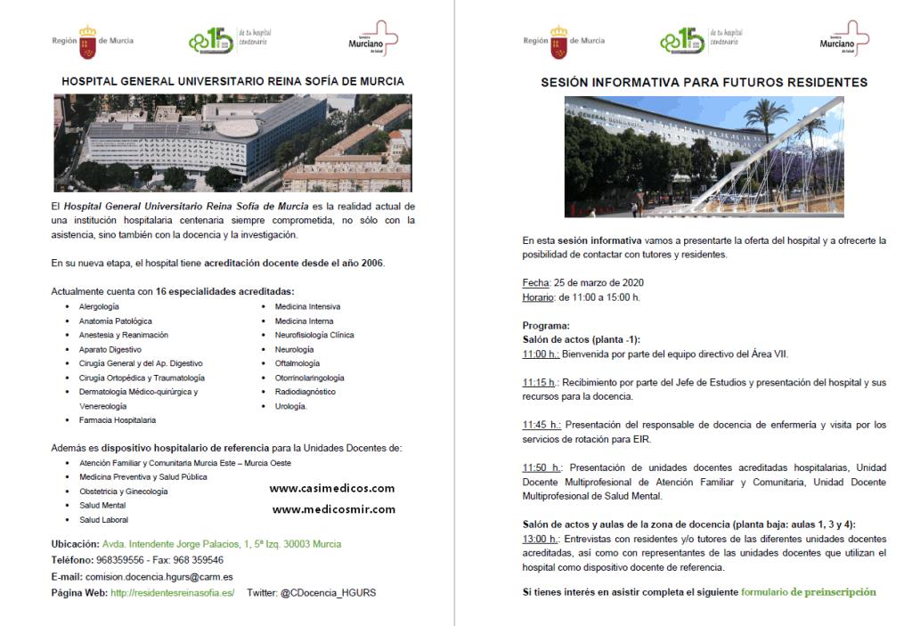 HOSPITAL Reina Sofía (Murcia) PUERTAS ABIERTAS 2020