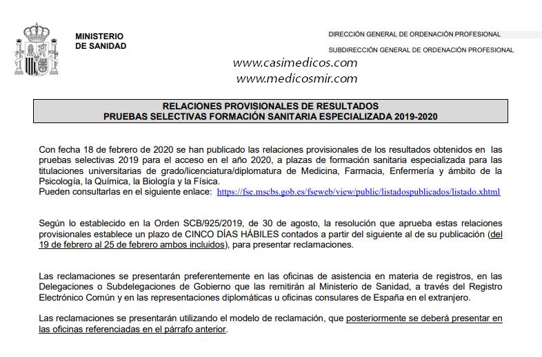 RELACIONES PROVISIONALES DE RESULTADOS PRUEBAS SELECTIVAS FORMACIÓN SANITARIA ESPECIALIZADA 2019-2020