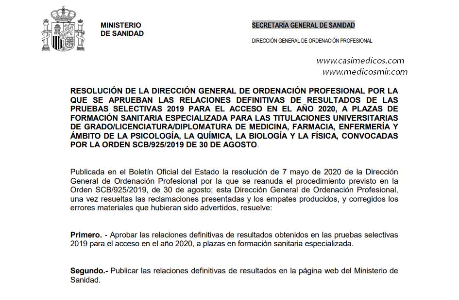 RELACIONES DEFINITIVAS DE RESULTADOS DE LAS PRUEBAS SELECTIVAS 2019 PARA EL ACCESO EN EL AÑO 2020