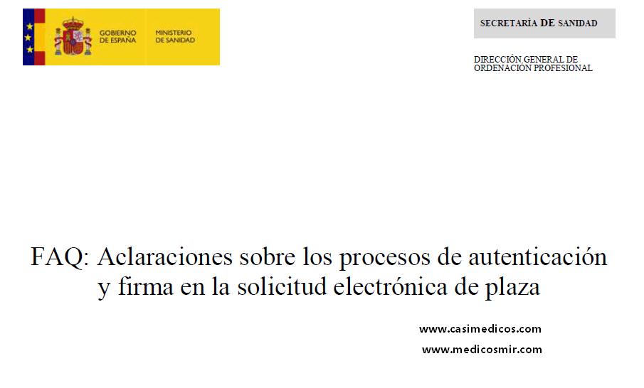 FAQ: Aclaraciones sobre los procesos de autenticación y firma en la solicitud electrónica de plaza
