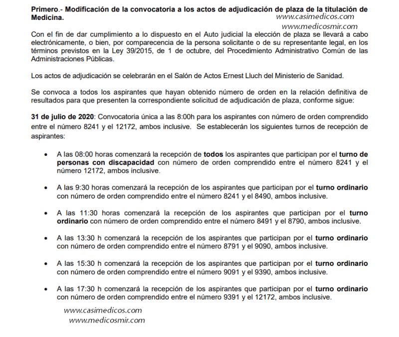 Modificación de la convocatoria a los actos de adjudicación de plaza de la titulación de Medicina el 31 de julio 2020