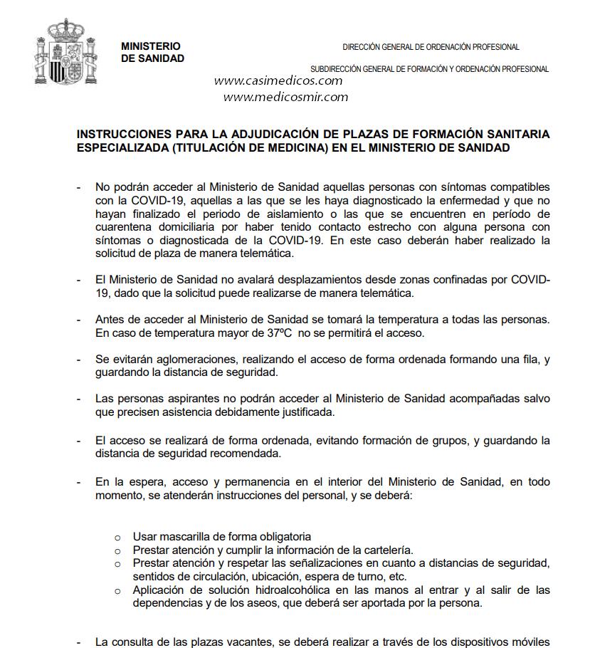 Medidas higiénico-sanitarias obligatorias para los MIR 2020 que acudan de forma presencial al Ministerio de Sanidad