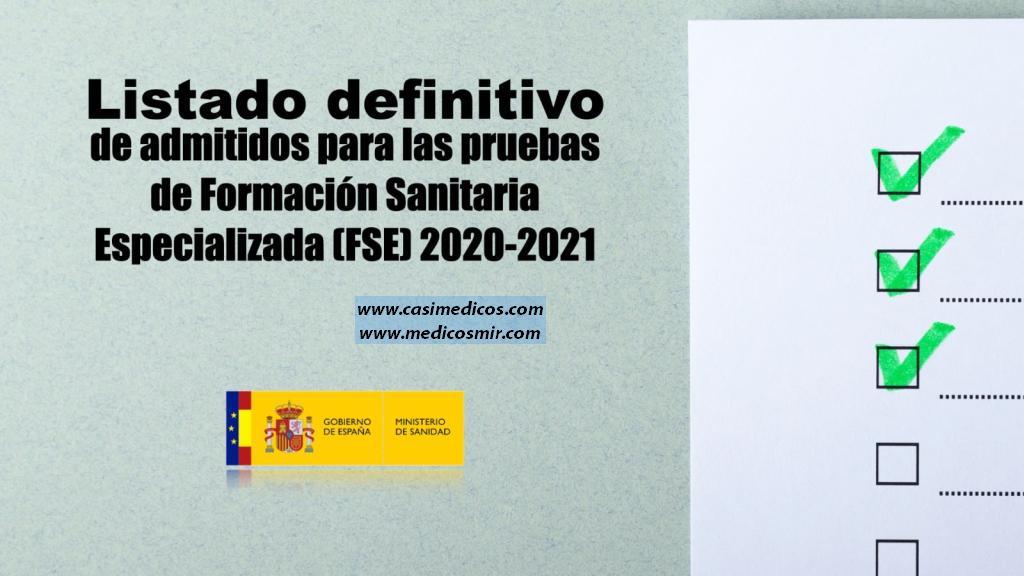 Publicadas las relaciones definitivas de admitidos a las pruebas selectivas de FORMACIÓN SANITARIA ESPECIALIZADA 2020-2021