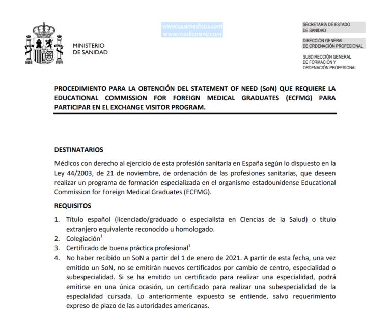 Declaración de Necesidad (Statement of Need) 2021