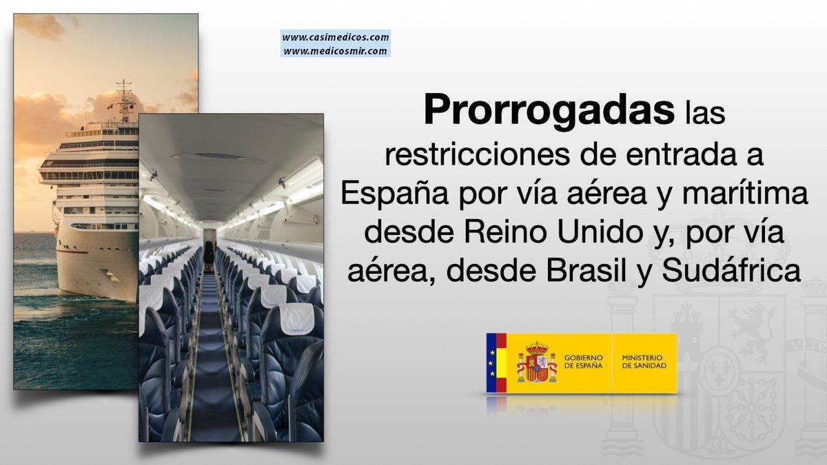 El Gobierno prorroga las limitaciones de entrada a España por vía aérea y marítima