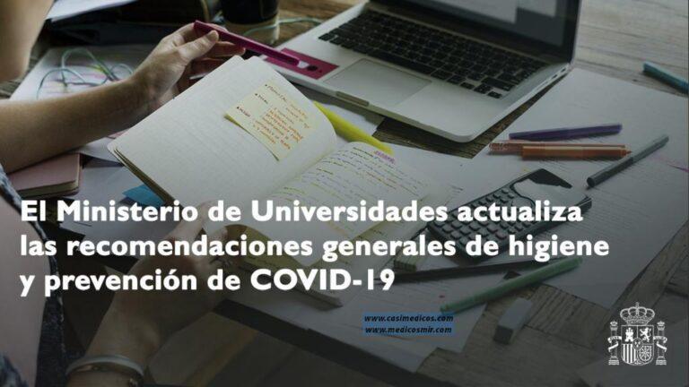 Actualización de las medidas de prevención frente a la COVID-19 para la EBAU
