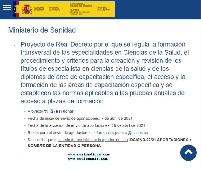 Proyecto de Real Decreto por el que se regula la formación transversal de las especialidades en Ciencias de la Salud