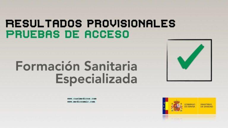 Publicados los resultados provisionales de las pruebas de acceso a la Formación Sanitaria Especializada (FSE) del 27 de marzo de 2021