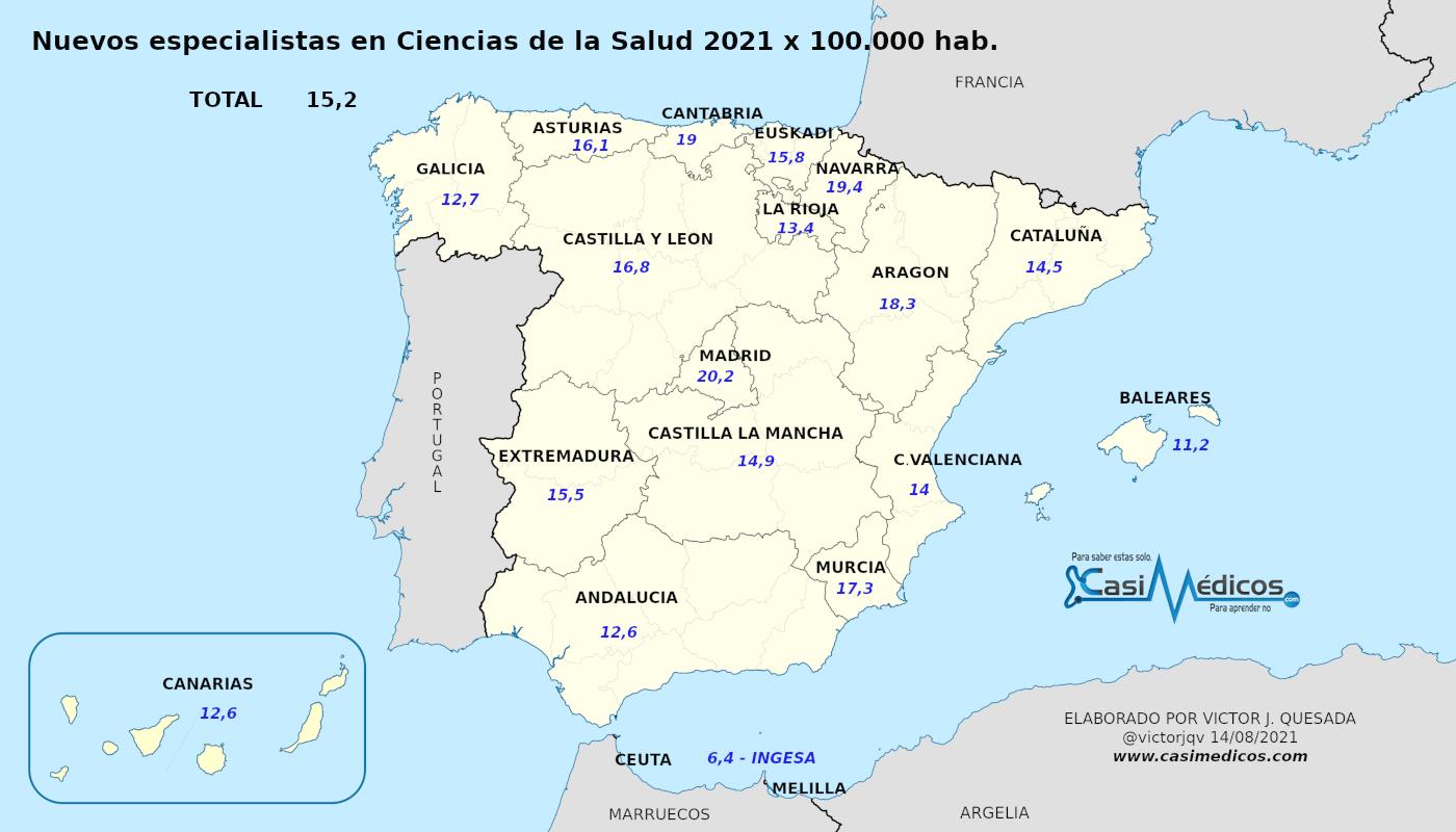 Nuevos ESPECIALISTAS POR CCAA 2021 (datos por 100.000 habitantes)